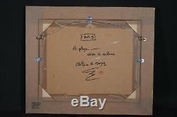 Ancien tableau HSP scène de plage animé couleurs signé Bogey XXème