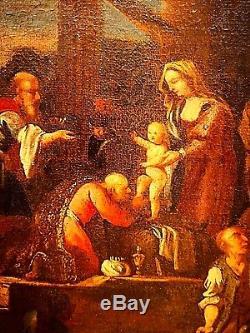 Ancien tableau HST Adoration des Mages religion Jan Miel école Italienne XVIIe