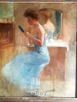 Ancien tableau, HST, Courtisane en nuisette bleue à la toilette, Belle-époque, 1900
