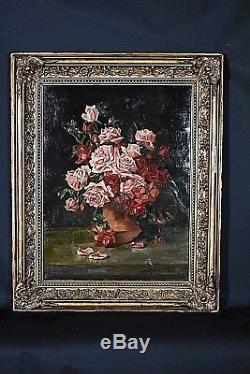 Ancien tableau HST Nature morte Roses fleurs signé Srydel école Allemande 1900