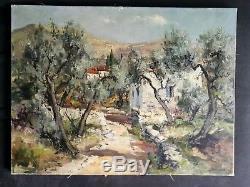 Ancien tableau HST Paysage Mas aux Oliviers Provence signé Lucien Potronat XXe