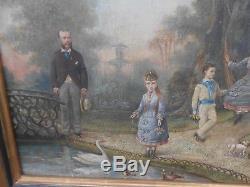 Ancien tableau HST Portraits de Famille ENFANTS JOUETS signé SANZ circa 1878