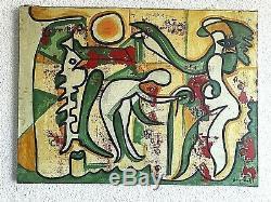 Ancien tableau HST composition abstraite signé sv Joan Miro XXème