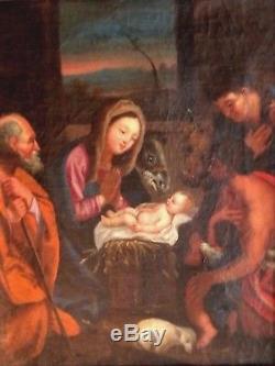 Ancien tableau, HST, école italienne, Maternité, Vierge à l'enfant, apôtres, XVIIème
