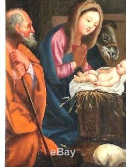 Ancien tableau, HST, école italienne, Maternité, Vierge à l'enfant, religion, XVIIème