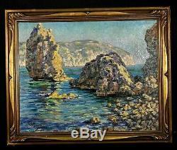 Ancien tableau HST marine St Aguilot Mallorque Baléares signé Impressionnisme