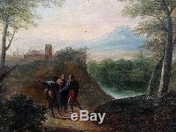 Ancien tableau HST paysage animé personnages école Italienne époque XVIIIème