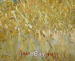 Ancien tableau HST paysage marin Provençal Cannes signé André Deymonaz XXe