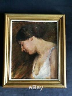 Ancien tableau, HST, portrait de femme, espagnole, italienne, début XXème