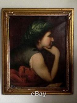 Ancien tableau, HST, portrait de femme, sybille, Musée Del Prado, Henner, déb XXe Rare
