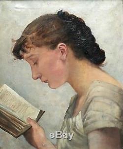 Ancien tableau, HST, portrait, femme à la lecture, époque XIXème siècle