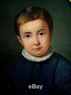 Ancien tableau HST tondo portrait enfant à la colerette époque empire déb XIXe