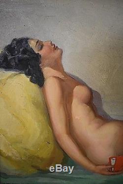 Ancien tableau HT Nu feminin Cérébrale signé George Varenne Art Déco années 30's