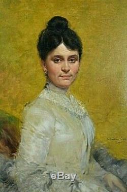 Ancien tableau HT portrait de dame signé Théodore Lévigne Belle-époque XIXe Rare