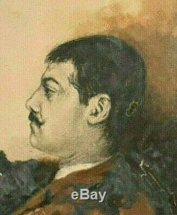 Ancien tableau Huile portrait d'homme signé Terson étude fin XIXème