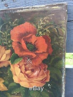 Ancien tableau Huile sur toile Bouquet Fleurs Signé À Restaurer