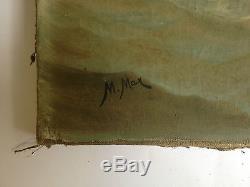 Ancien tableau / Huile sur toile signé M. MAX. Belle marine, bateaux français