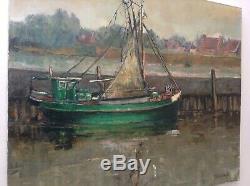 Ancien tableau Impressionniste Bateau Chalutier au Port en Bretagne Huile signée