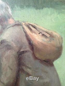 Ancien tableau Impressionniste CORDIER Portrait d'Homme Huile sur panneau signée