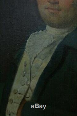 Ancien tableau Louis XVI portrait d'homme tenant une lettre Paysage marin 18 ème