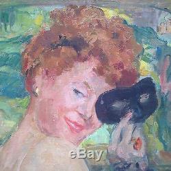 Ancien tableau Maria Gallois BRUCKER Femme au masque Huile toile gout Domergue