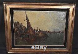 Ancien tableau Marine Port bateaux signé Gaston Lestrade Belge XXe Fd d'atelier