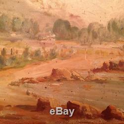 Ancien tableau Orientalisme XIXe Peinture de Marine orientaliste Huile signée