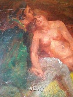 Ancien tableau Paul DANGMANN (1899-1947) Scèhe Erotique Huile sur panneau Signée