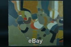 Ancien tableau Paysage Abstrait Abstraction école française Claude Aliotti HST