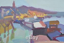 Ancien tableau Paysage Aux Péniches Fleuve Ville Sennelier 1950 hst