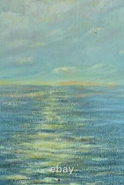 Ancien tableau Paysage Bord de mer Couché de Soleil arboré Provençal signé 1930