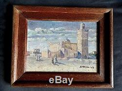 Ancien tableau Paysage animé Orientaliste Mosquée signé Impressionnisme déb XXe