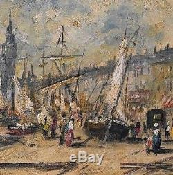 Ancien tableau Paysage animé Westminster River Thames Londres Pierre Stéphani