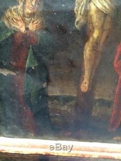 Ancien tableau Religieux Huile sur cuivre XVIIème XVIIIème Flamand Italie christ