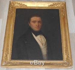 Ancien tableau XIX è huile sur toile Portrait Homme Empire Restauration