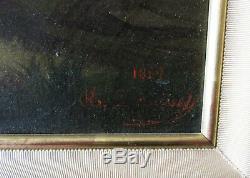 Ancien tableau XIXe Barbizon signé Sainte Foy l'Argentière St Genis Lyon Aveize