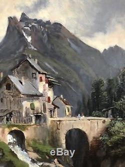 Ancien tableau XIXe Pyrénées Le Latou Ariège Rivière Torrent Montagne Paysage