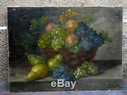Ancien tableau XVIII / XIX huile nature morte aux fruits signé L. CASTEX