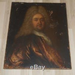 Ancien tableau XVIII è huile sur toile Portrait d'un noble familles royales roi