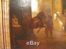 Ancien tableau XVII ème siècle d'après Pieter Wouwerman scène d'écurie