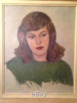 Ancien tableau XXe Portrait Femme Huile sur toile Signée C1947 American Painter