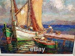 Ancien tableau bateau marine signée V Cuguen. Cadre 6f