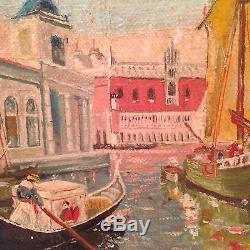 Ancien tableau de LOUIS PETIT (1864-1937) Marine à Venise 19è Huile à restaurer