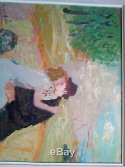 Ancien tableau école de Paris le baiser Marcel Vertès huile sur toile 1930