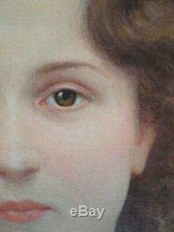 Ancien tableau huile XIX Maurice LA BANY (XIX-XX) portrait d'une jeune femme