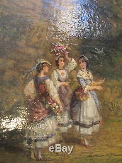 Ancien tableau huile fin 18 eme scene romantique galante paysage animé cadre