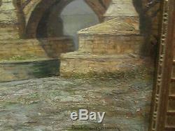 Ancien tableau huile / panneau lyon 69 pont de la guillotiere DANGMANN cadre