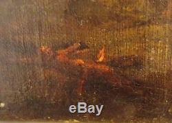 Ancien tableau huile peinture religieuse XIXème croix anges station crucifix