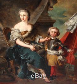 Ancien tableau huile portrait famille royale suiveur de Charles Le Brun