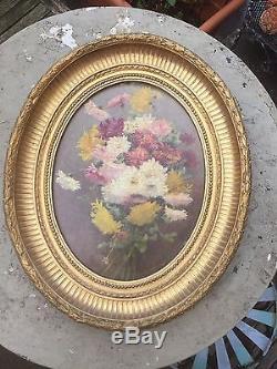 Ancien tableau huile sur Bois Naturaliste